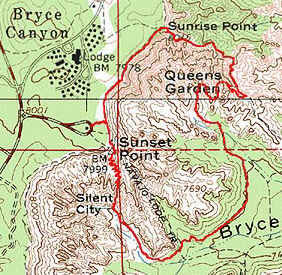 Mapa do Queen's Garden-Navajo Loop Trail