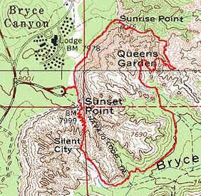 Mapa do Queen's Garden-Navajo Loop Trail