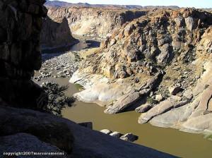 Garganta do rio Orange, Augrabies Falls National Park, África do Sul. Author and Copyright Marco Ramerini