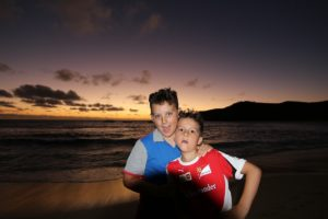 Andrea e Mattia, Waya island, Yasawa, Fiji. Autor e Copyright Marco Ramerini