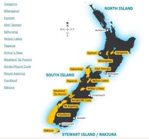 Mapa dos Parques Nacionais da Nova Zelândia