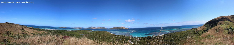 Visão geral da Blue Lagoon Beach, Nacula, Ilhas Yasawa, Fiji. Autor e Copyright Marco Ramerini