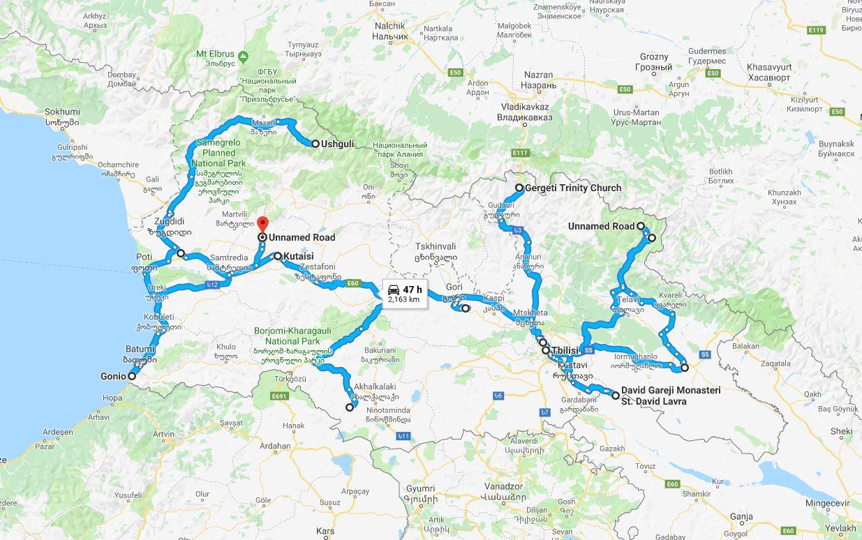 Mapa da viagem para a Geórgia