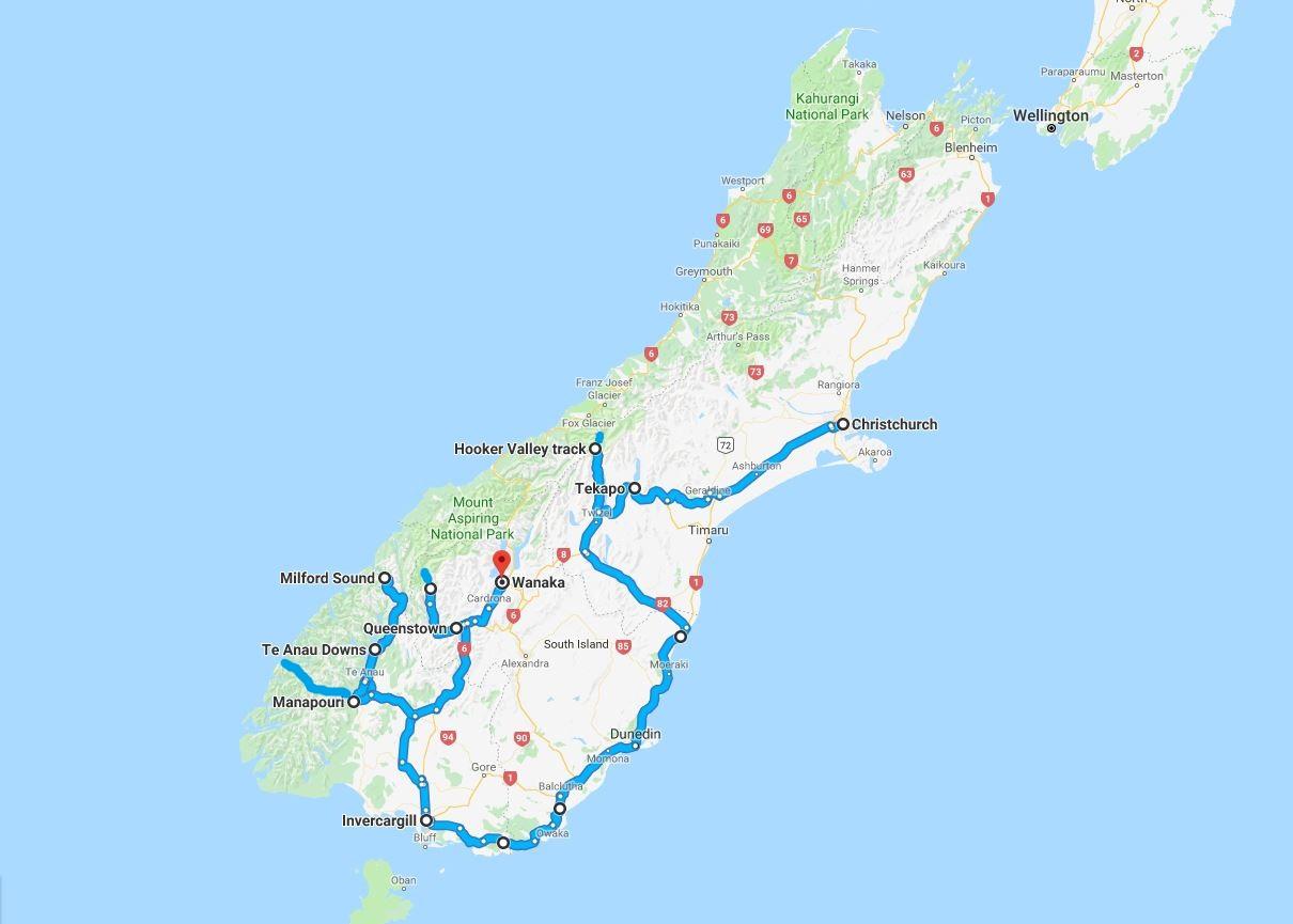 Mapa da viagem para a Nova Zelândia