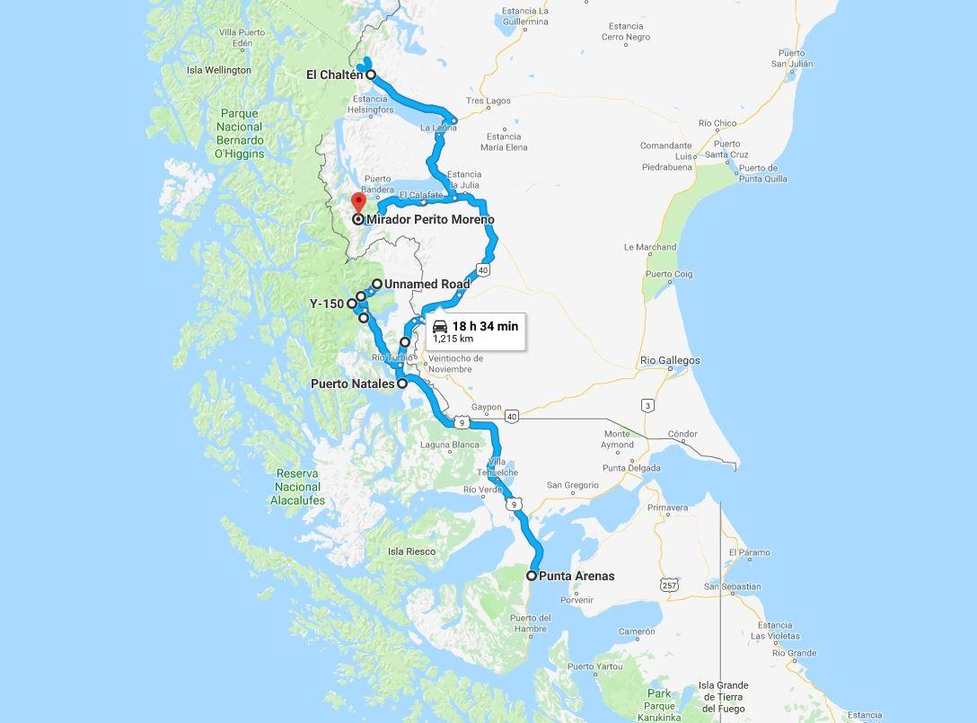 Mapa da viagem à Patagônia