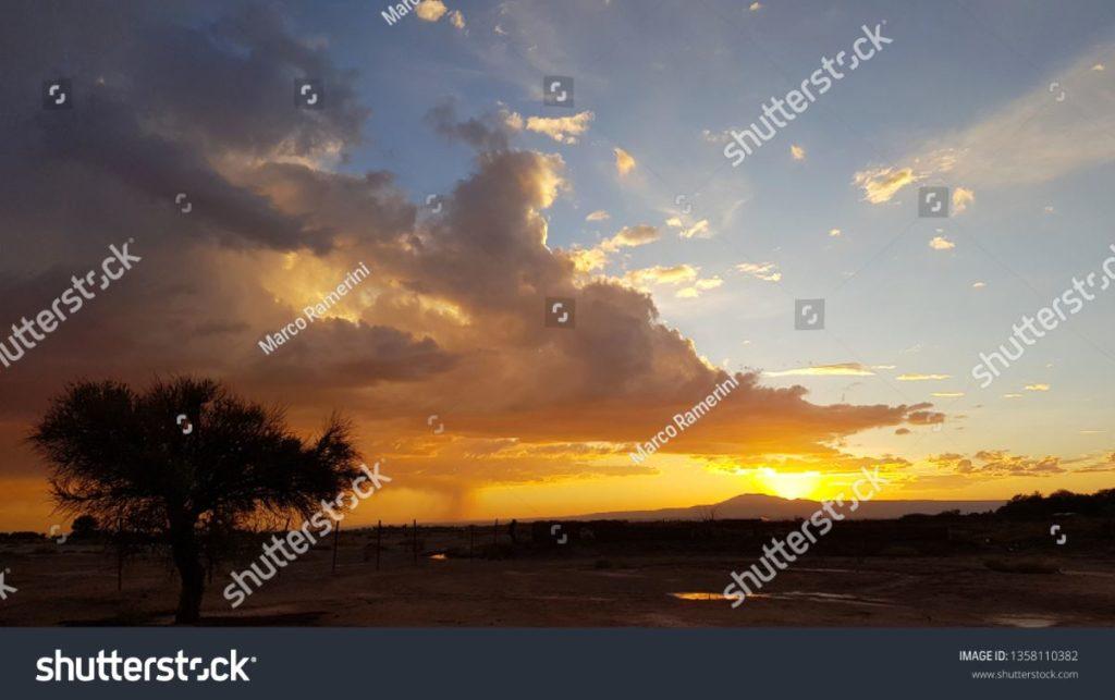 Pôr do sol com árvore solitária e tempestade em formação à distância nas terras áridas do deserto de Atacama, Chile. Autor e Copyright Marco Ramerini