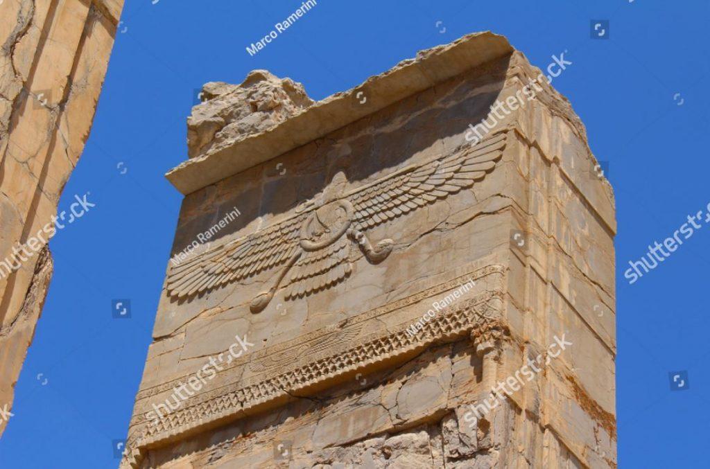 Persépolis, Irã. Símbolo do zoroastrismo. Ruínas da capital cerimonial do Império Persa (Império Aquemênida). Autor e copyright Marco Ramerini