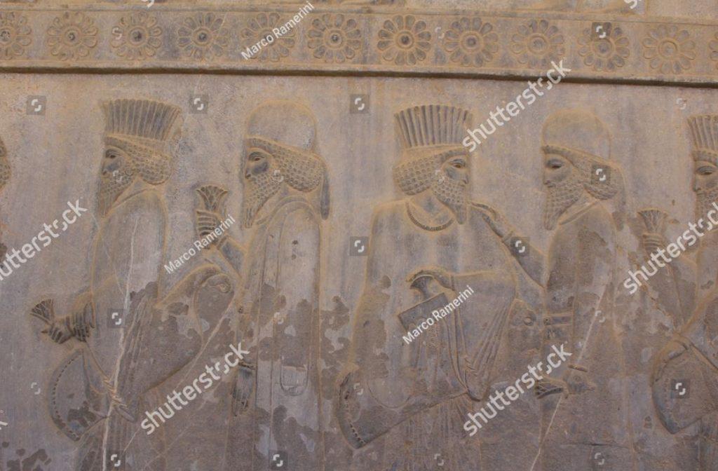 Persépolis, Irã. Um baixo-relevo do Apadana. Ruínas da capital cerimonial do Império Persa (Império Aquemênida). Autor e copyright Marco Ramerini.